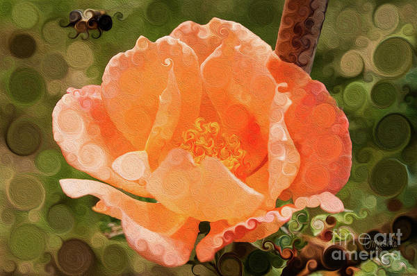 Painting - Pretty Peachy Rose Abstract Flower by Omaste Witkowski