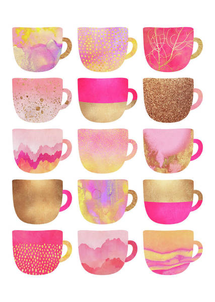 Cup Digital Art - Pretty Pink Coffee Cups by Elisabeth Fredriksson