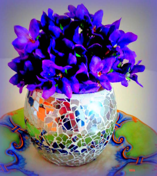 Mixed Media - Pretty Purple Petals O T T by VIVA Anderson