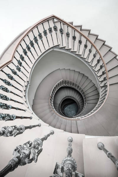 Photograph - Pretty White Spiral Staircase by Jaroslaw Blaminsky