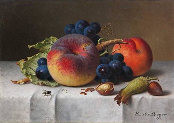 Wall Art - Painting - Preyer, Emilie 1849 Dusseldorf   1930 Dusseldorf , Fruit Still Life With Peach by Celestial Images