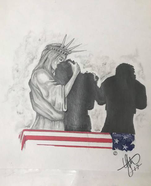 Silhouette Wall Art - Drawing - Price Of Liberty by Howard King