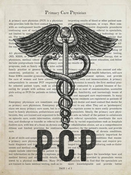 Wall Art - Digital Art - Primary Care Physician Gift Idea With Caduceus Illustration 01 by Aged Pixel