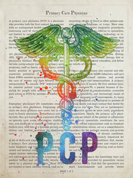 Wall Art - Digital Art - Primary Care Physician Gift Idea With Caduceus Illustration 03 by Aged Pixel