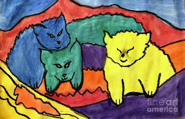 Oil Pastels Drawing - Primary Cat Family by Ally Spray