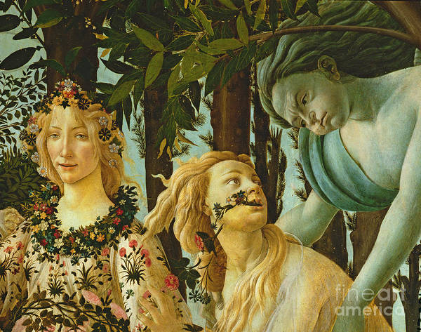 Wall Art - Painting - Primavera, Detail Of Flora And Zephyr by Sandro Botticelli