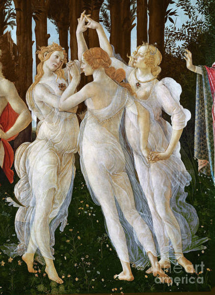 Wall Art - Painting - Primavera, Detail Of The Three Graces, 1478 By S Botticelli by Sandro Botticelli
