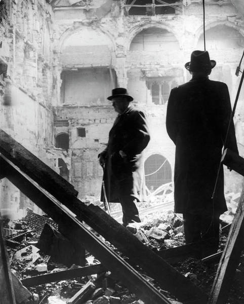 Wall Art - Photograph - Prime Minister Looking At The Bombed by Time & Life Pictures
