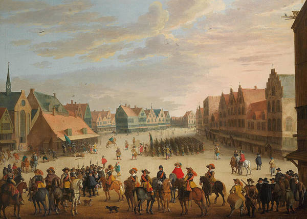Wall Art - Painting - Prince Maurice Of Orange Dismissing The Mercenaries In Neude Square In Utrecht On 31 July 1618 by Joost Cornelisz Droochsloot