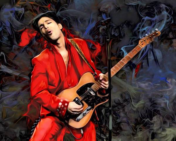Psychedelia Digital Art - Prince Nelson With Guitar  by Scott Wallace Digital Designs