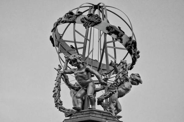 Photograph - Princes Street Forsyth Sphere - Edinburgh Scotland In Black And  by Bill Cannon