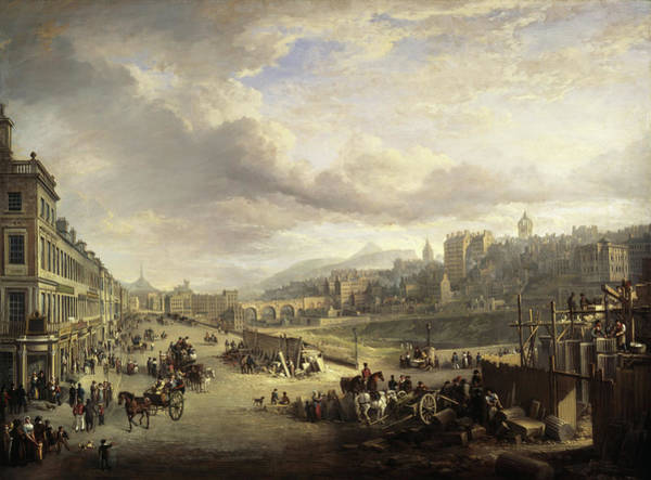 Wall Art - Painting - Princes Street With The Commencement Of The Building Of The Royal Institution, 1825 by Alexander Nasmyth