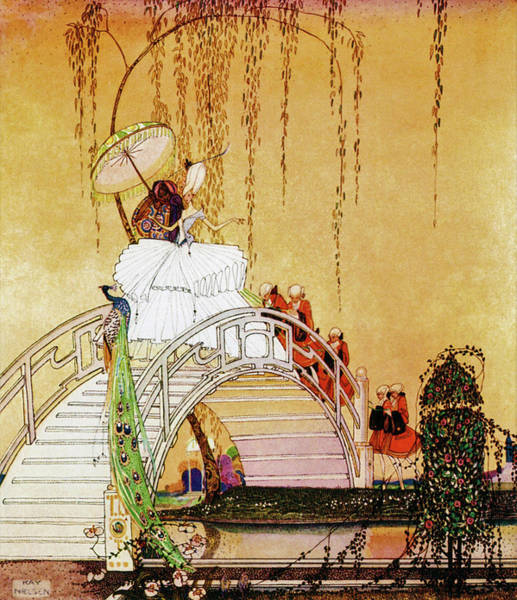 Wall Art - Painting - Princess Crossing The Drum Bridge by Kay Nielsen