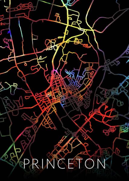 New Jersey Mixed Media - Princeton New Jersey Watercolor City Street Map Dark Mode by Design Turnpike