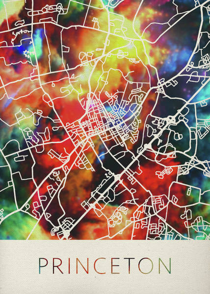 New Jersey Mixed Media - Princeton New Jersey Watercolor City Street Map by Design Turnpike