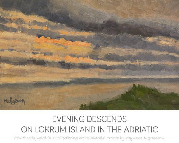 print of Evening Descends on Lokrum Island in the Adriatic print Art Print