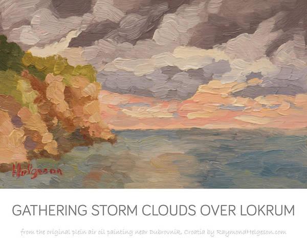 print of Gathering Storm Clouds over Lokrum Art Print