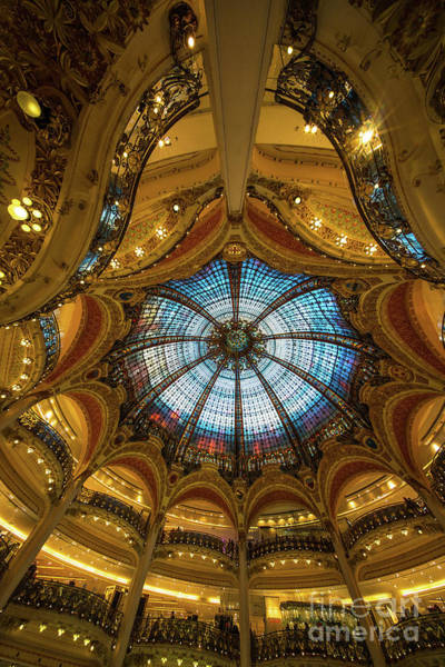 Wall Art - Photograph - Printemps Department Store Interior And Stained Glass Ceiling Cupola by Mike Reid
