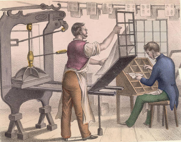 Workshop Photograph - Printer And Typesetter by Hulton Archive
