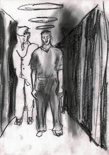 Drawing - Prisoner Being Transported by Artist Dot
