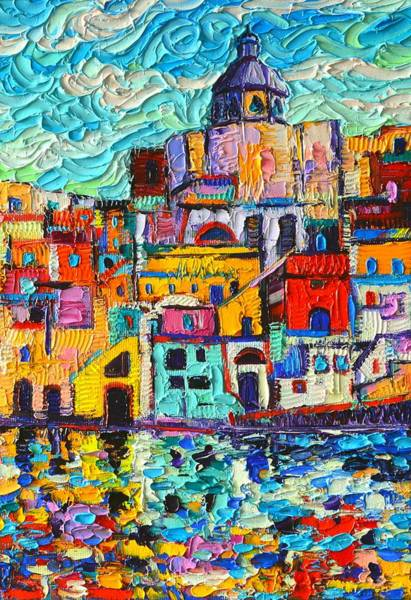 Painting - Procida Colors Marina Corricella Textural Impasto Palette Knife Oil Painting By Ana Maria Edulescu  by Ana Maria Edulescu