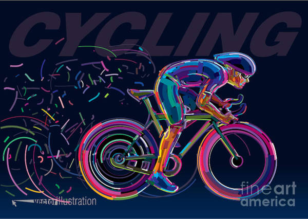 Wall Art - Digital Art - Professional Cyclist Involved In A Bike by Archetype