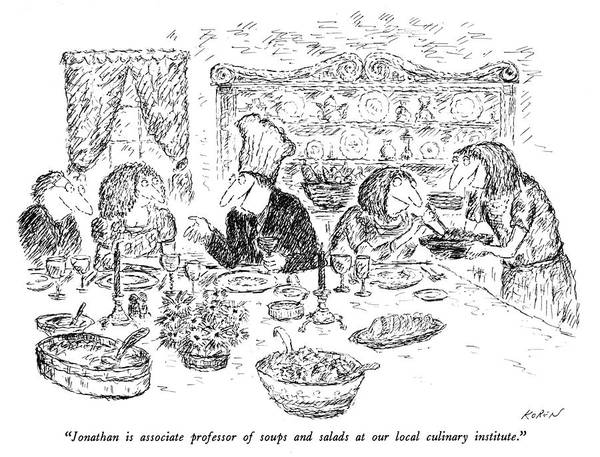 Drawing - Professor Of Soups And Salads by Edward Koren