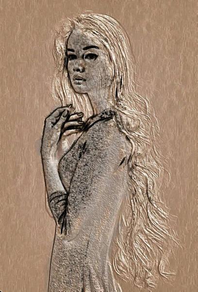 Digital Art - profile in Wood by Mario Carini
