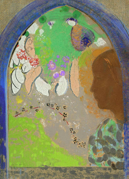 Wall Art - Painting - Profile Of A Woman In A Window, 1910 by Odilon Redon