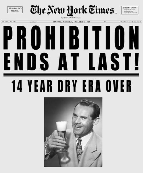 End Times Digital Art - Prohibition Ends Toast - New York Times 1933 - T-shirt by Daniel Hagerman