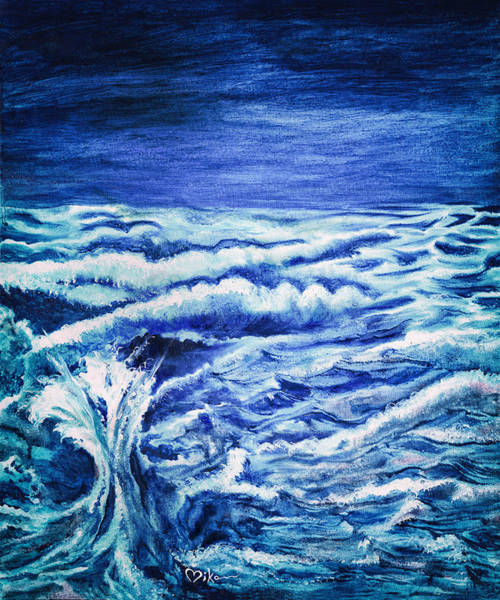Painting - Promethea Ocean Triptych 3 by Miko At The Love Art Shop
