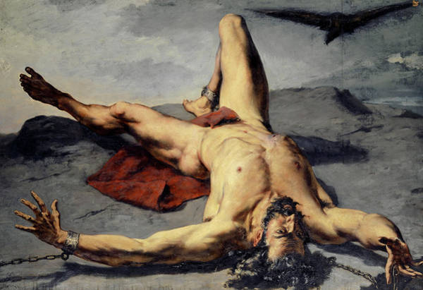 Wall Art - Painting - Prometheus Forged On A Rock, 1855 by Frank Buchser