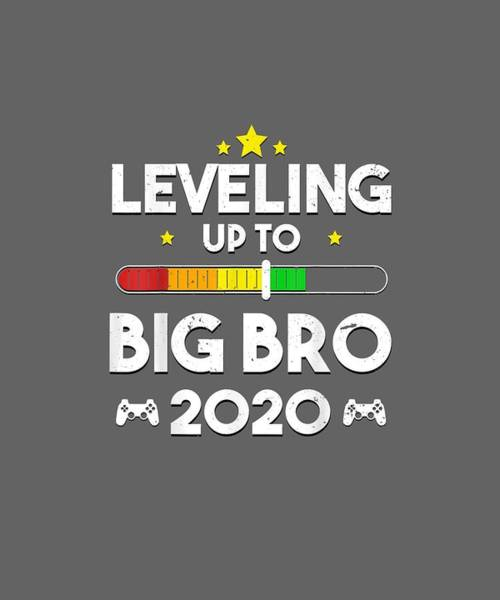 Wall Art - Digital Art - Promoted To Big Bro Shirt Leveling Up Brother Est 2020 Gift by Unique Tees