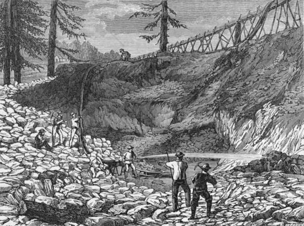 Printmaking Photograph - Prospectors Making Claim In Gold Rush by Hulton Archive