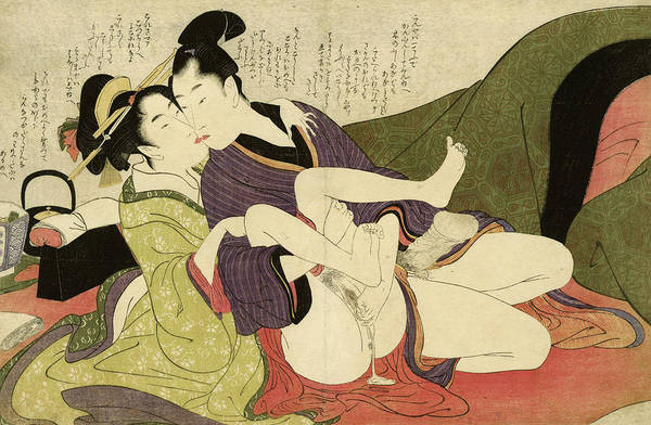 Tits Painting - Prostitute Kissing With Young Man, 1799 by Kitagawa Utamaro