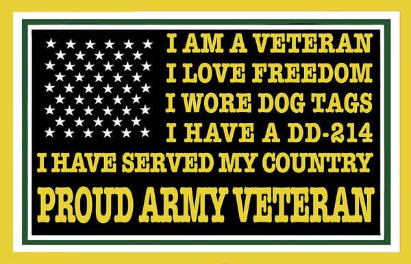 Us Civil War Digital Art - Proud Army Veteran by Max Huber