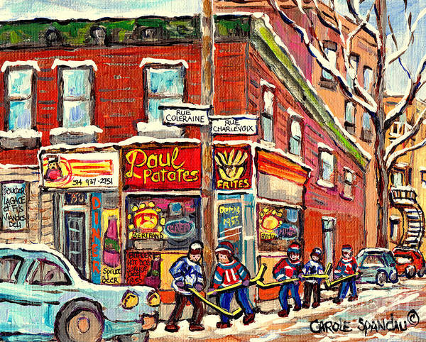 Painting - Psc Street Hockey Painting Canadian Winter Scene Rue Coleraine And Charlevoix C Spandau Corner Store by Carole Spandau