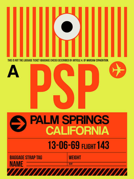 Wall Art - Digital Art - Psp Palm Springs Luggage Tag I by Naxart Studio