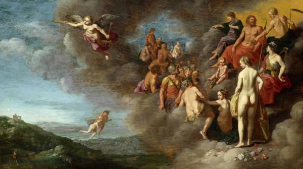 Wall Art - Painting - Psyche Is Carried To The Olympus By Mercury by Cornelis van Poelenburg
