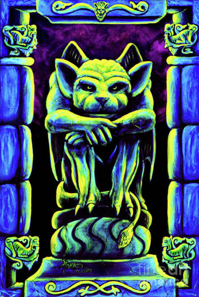 Blacklight Painting - Psychedelic Gargoyle by Vincent Monaco