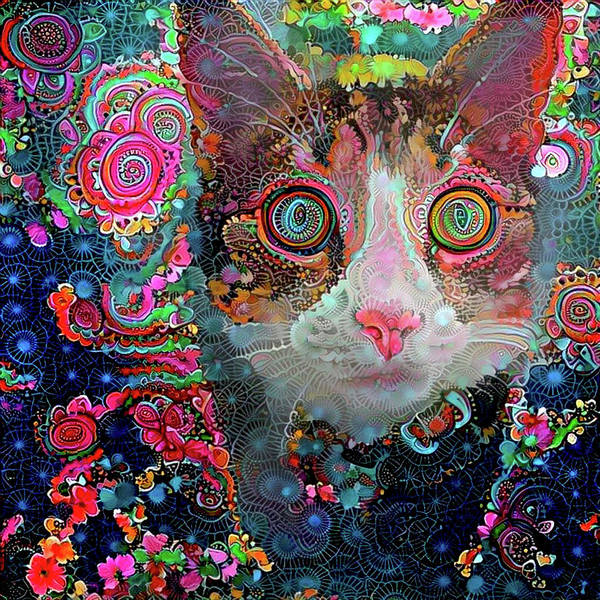Digital Art - Crazy Cat Suzie by Peggy Collins