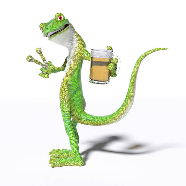 Wall Art - Digital Art - Pub Gecko by Betsy Knapp