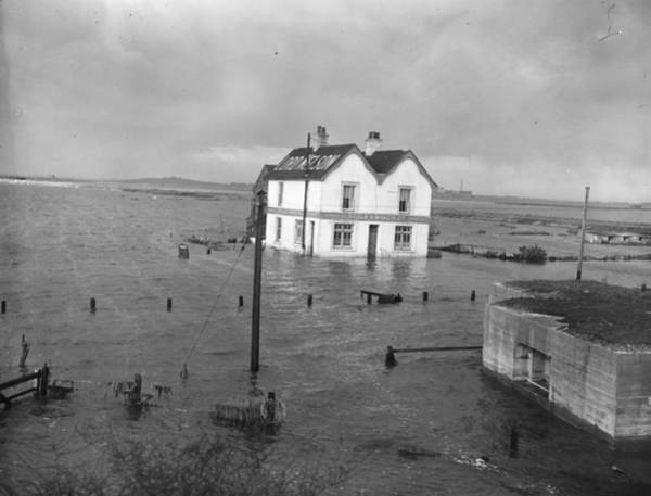 Surroundings Photograph - Pub In Floodwater by Topical Press Agency