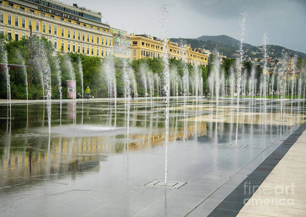 Photograph - Public Fountain Water Jets At Place Massena, Nice, France by Wayne Moran