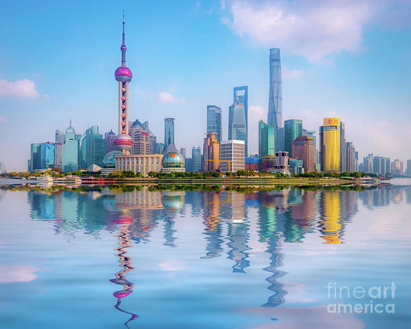 Financial Centre Photograph - Pudong Skyline, Shanghai, China by Colin and Linda McKie