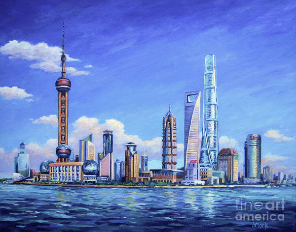 Tall Buildings Painting - Pudong Skyline  Shanghai by John Clark