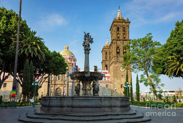 Wall Art - Photograph - Puebla Cathedral And Fountain by Inge Johnsson