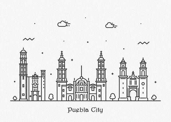 Wall Art - Drawing - Puebla Cityscape Travel Poster by Inspirowl Design