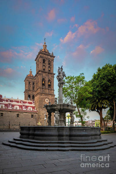 Wall Art - Photograph - Puebla Zocalo And Cathedral by Inge Johnsson
