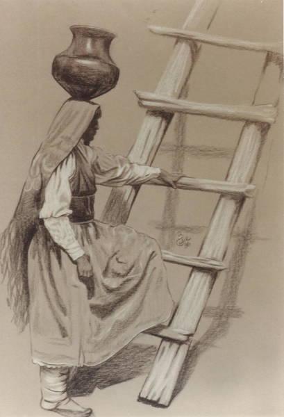 Drawing - Pueblo Woman by Barbara Keith